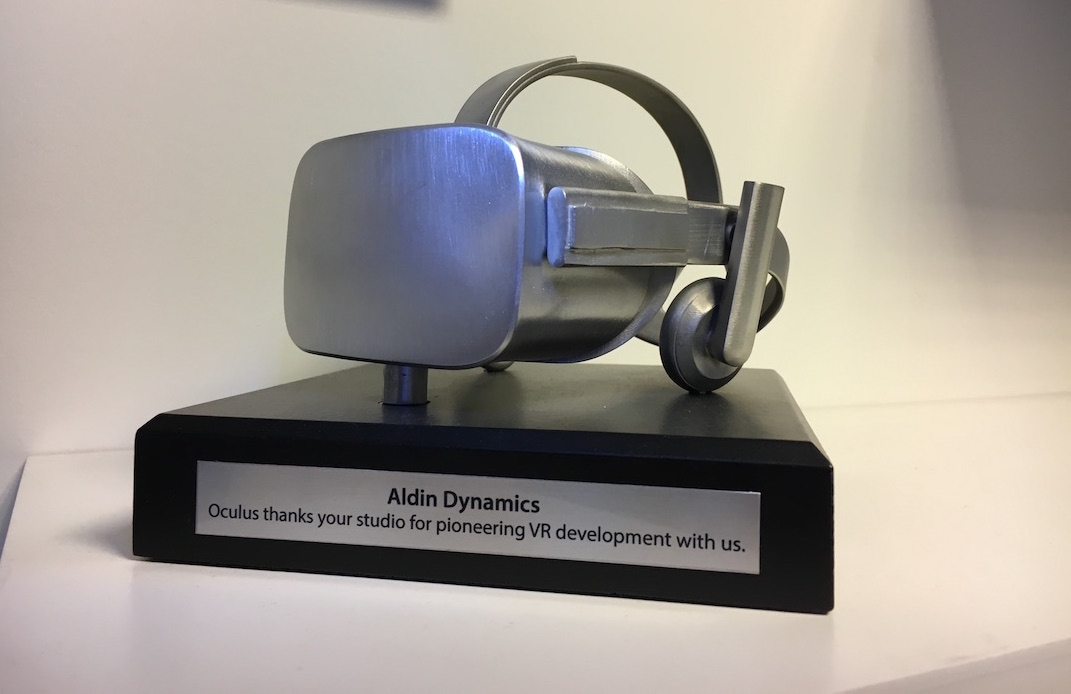 Oculus recognition awarded to Aldin for pioneering VR content development